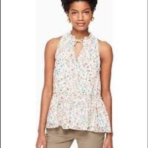 Kate Spade mini blooms burnout peplum top